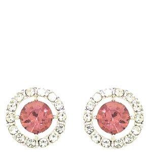 Monet Silver Tone & Pink Crystal Earrings | 337